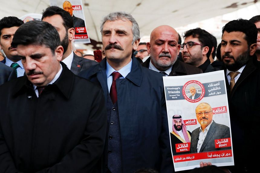 People attend a symbolic funeral for Khashoggi in Turkey on Nov 16, 2018.