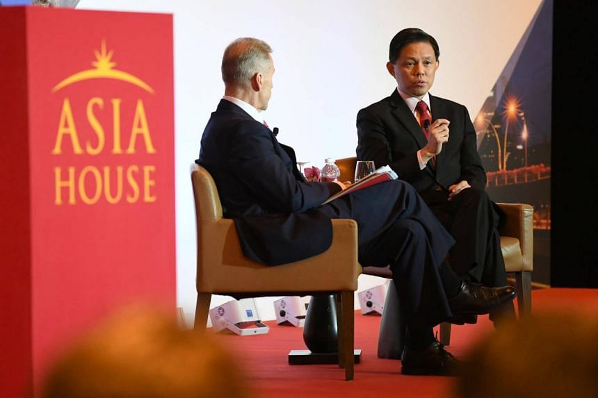 Trade and Industry Minister Chan Chun Sing with Asia House chief executive Michael Lawrence at the Asia Trade in the New Global Order conference, on Nov 22, 2018.