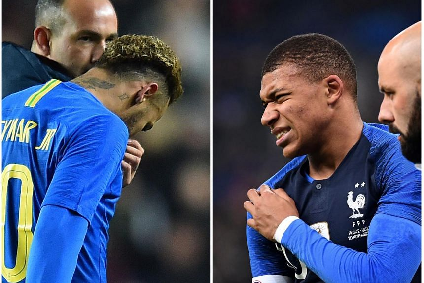 Neymar tweaked his groin in Brazil's 1-0 win over Cameroon, while Kylian Mbappe hurt his shoulder in France's 1-0 victory against Uruguay on Nov 20, 2018.