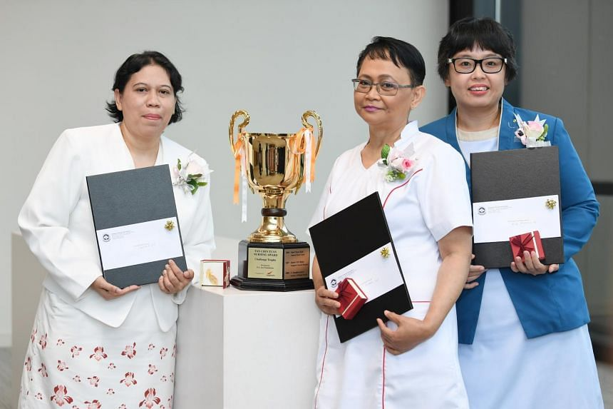 The first, second and third prize winners of the Tan Chin Tuan Nursing Award, respectively: (from left) Rahinah Ibrahim, Faridah Hassan and Jenny Yong.