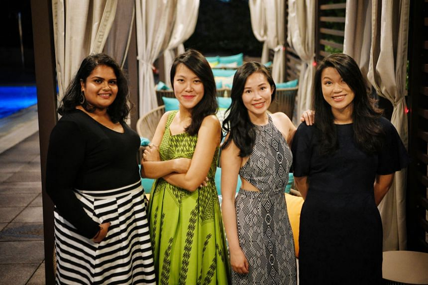 Epigram Books Fiction Prize winner Yeoh Jo-Ann (in green), with the three other finalists: (from left) Anittha Thanabalan, May Seah and Lu Huiyi. Ms Yeoh won $25,000 while the other finalists received $5,000 each. All four will have their novels publ