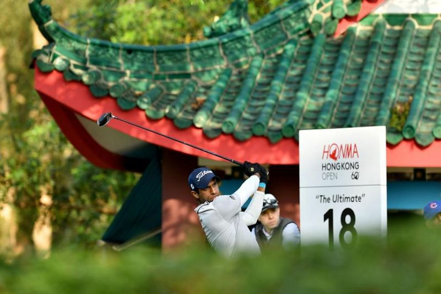 England's Aaron Rai hitting a shot during round two of the Hong Kong Open golf tournament on Nov 23, 2018.