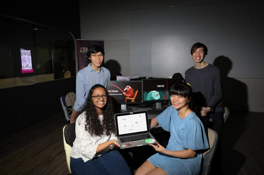 (Clockwise from top left) Nanyang Technological University students Nicholas Kok, Yeo Ying Zhi, Ong Shu Yi and Ayesha Fathima from Team N.E.Thing is Possible, which chose the topic of e-mail phishing for this year's N.E.mation! competition.