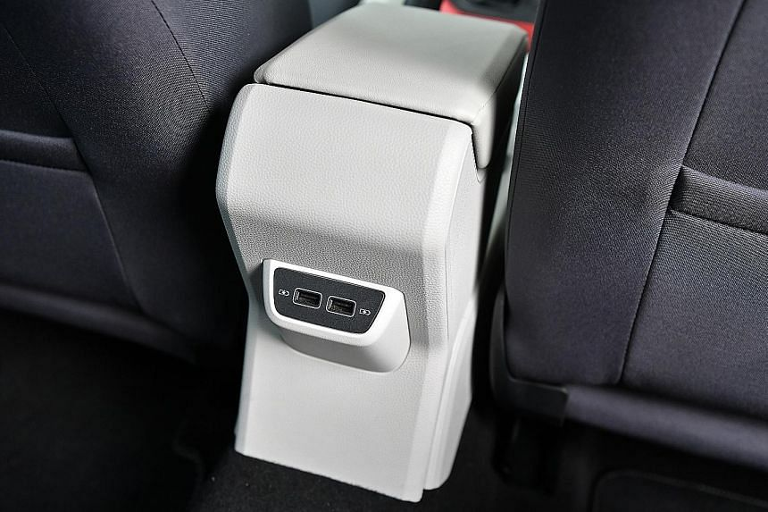 The Polo comes with four USB ports - two (above) for rear occupants.