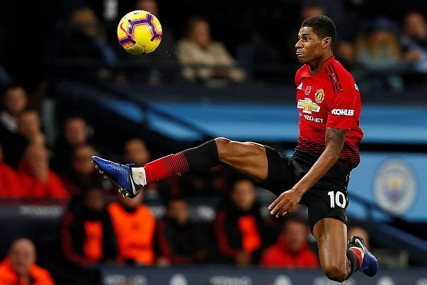 Marcus Rashford started in Manchester United's 3-1 away loss to Manchester City a fortnight ago but was substituted. He has appeared nine times in the league this term but four have been off the bench.