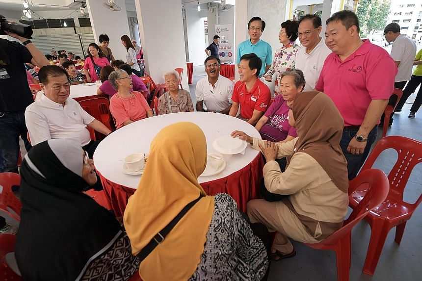 Then Minister in the Prime Minister's Office Chan Chun Sing (fifth from far left) with MP Murali Pillai (fourth from left) during a ministerial community visit to Mr Murali's Bukit Batok ward in July last year. Mr Chan seems to have stayed true to hi