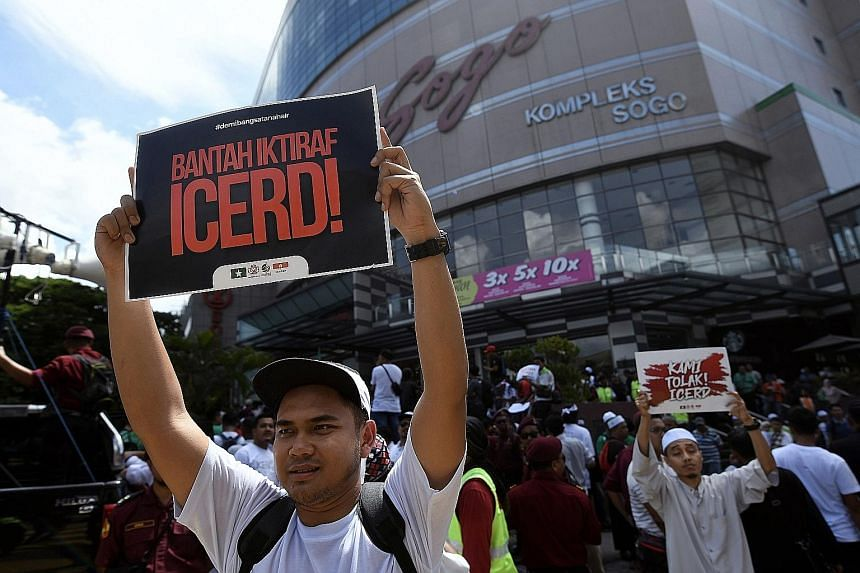 Protesters at an anti-ICERD demonstration organised by Umno Youth and PAS Youth in Kuala Lumpur earlier this month. Malay and Muslim groups fear ratifying the UN human rights convention would weaken the rights of Malays and Malay royalty, as well as