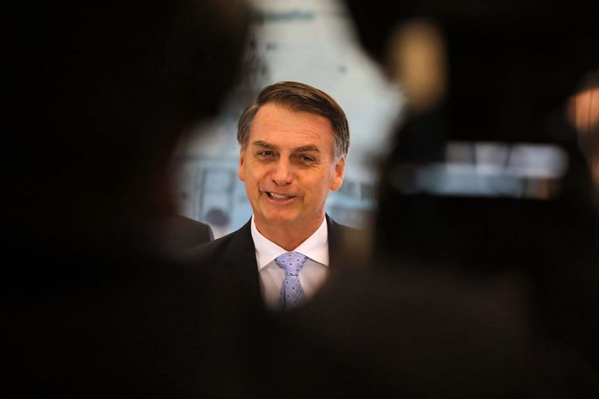 Bolsonaro is pictured in Brasilia after meeting with military commanders, on Nov 22, 2018.