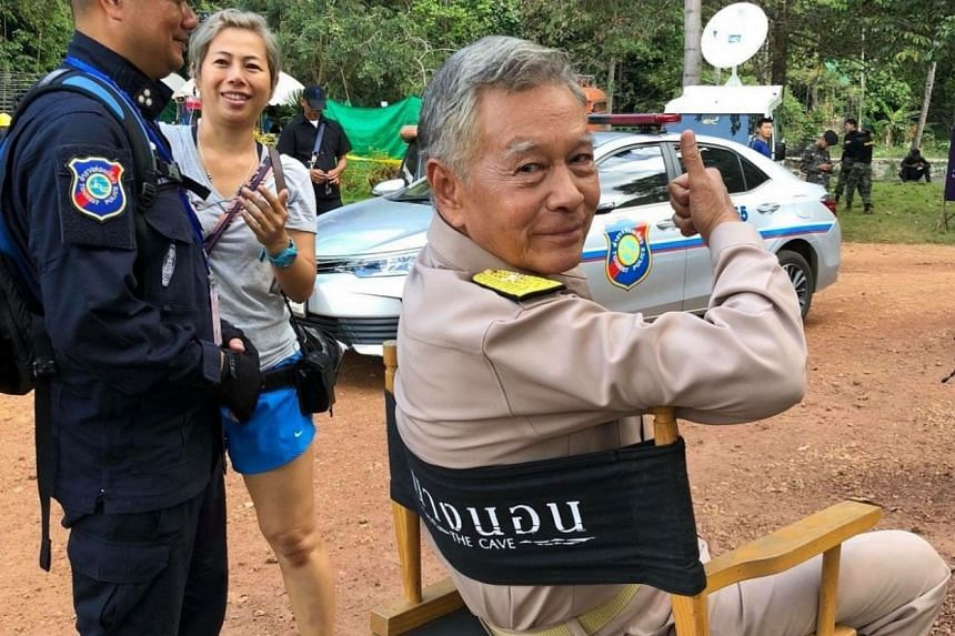The film's Facebook page shows a photo of Thai veteran actor, Nirut Sirijanya, sitting on a chair with the cave in the background.