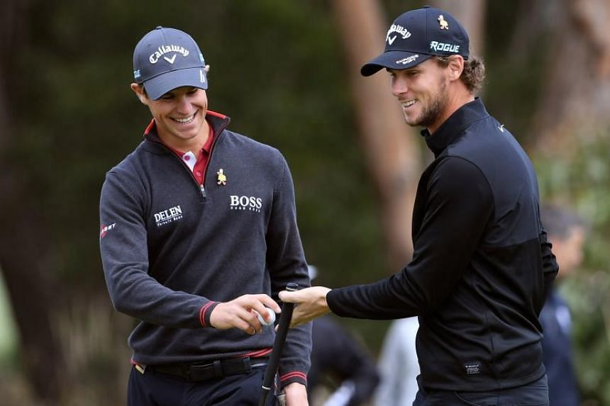 Belgian duo Thomas Detry (left) and Thomas Pieters thrived in dry conditions to shoot nine-under 63 in the four-ball format.