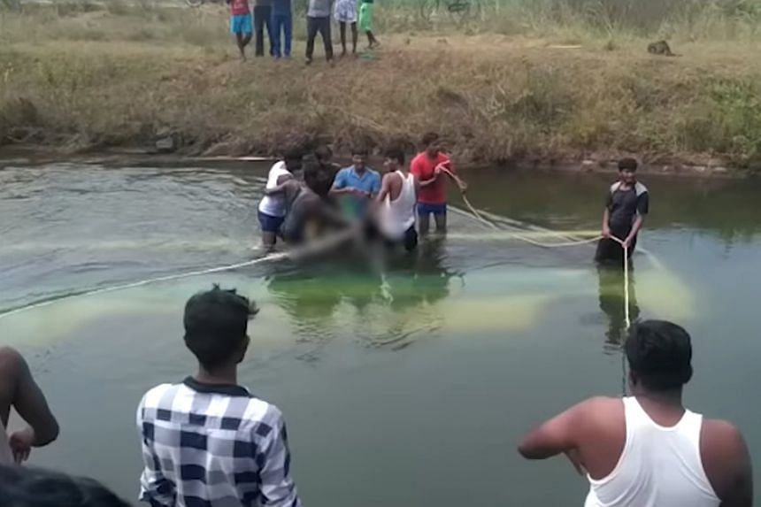 The bus veered off the road and fell into the canal in the Mandya district of the southern state of Karnataka.