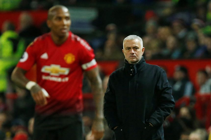 Manchester United manager Jose Mourinho looks on during the match.