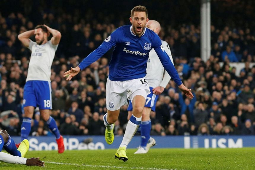 Everton's Gylfi Sigurdsson celebrates scoring.