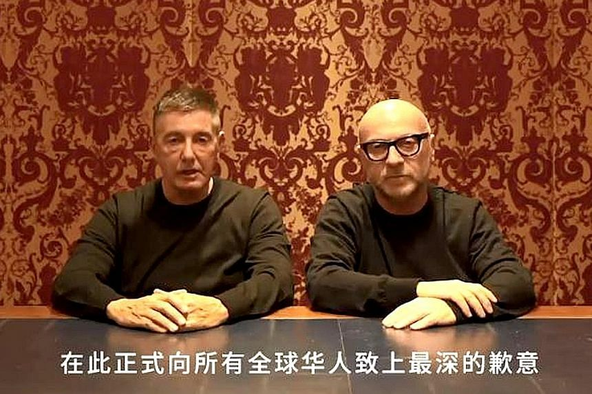 Domenico Dolce (wearing glasses) and Stefano Gabbana issued a 1min 30sec video apology on Weibo after a scandal over culturally insensitive clips on Instagram.