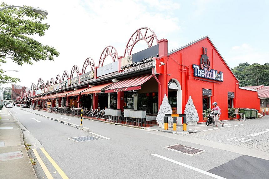 Three shophouses in Mosque Street - Nos. 48, 49 and 50 (above) - were sold for $64.8 million and converted into a boutique hotel, while four shophouses at Rail Mall (right), a stretch of shopping and dining outlets in Upper Bukit Timah Road, were sol
