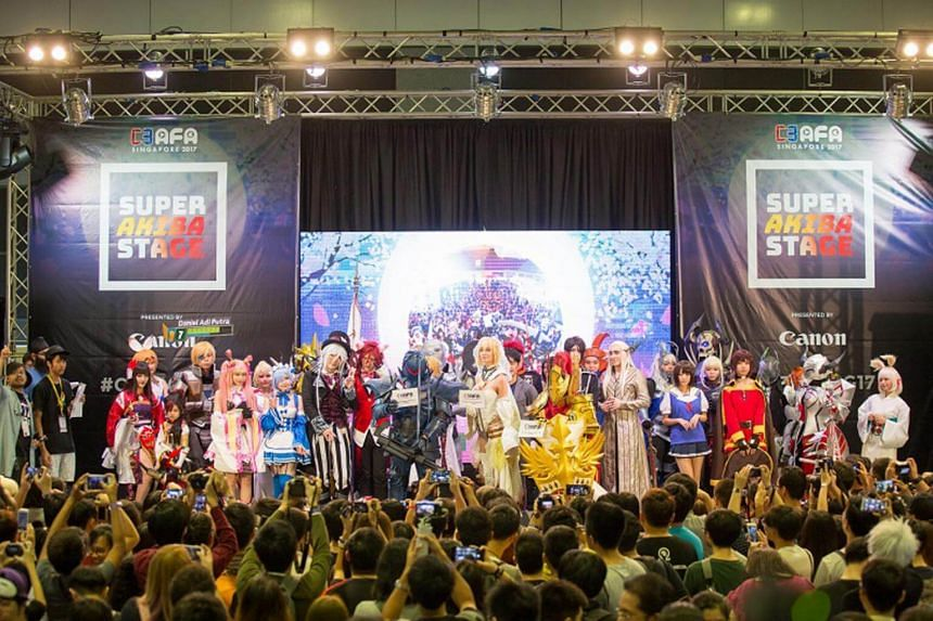 Cosplayers show off their costumes to the crowd at the C3 Anime Festival Asia Singapore last year.