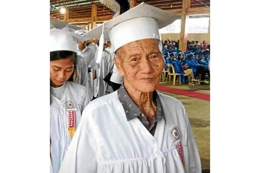 Mr Jose Gaitan Gandecela's education had been sidelined due to World War II. He began attending classes again last year and passed his test with a score of 81.6 per cent.