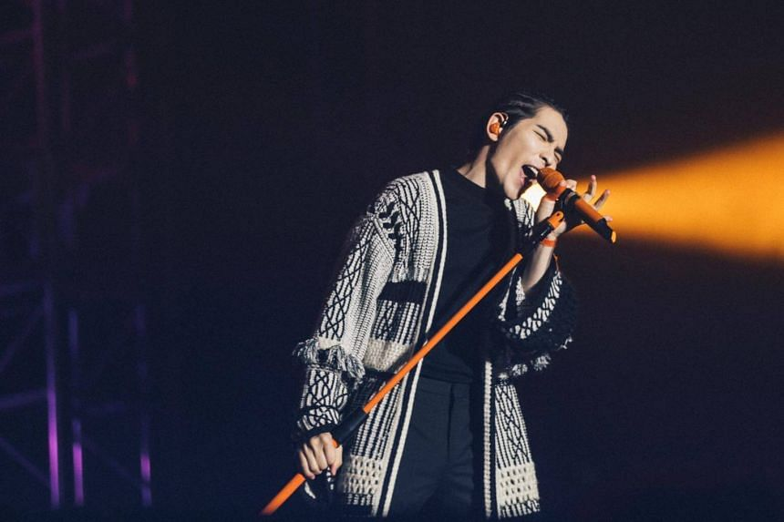 Taiwanese Mandopop star Jam Hsiao opening his concert at the Singapore Indoor Stadium, on Nov 24, 2018.