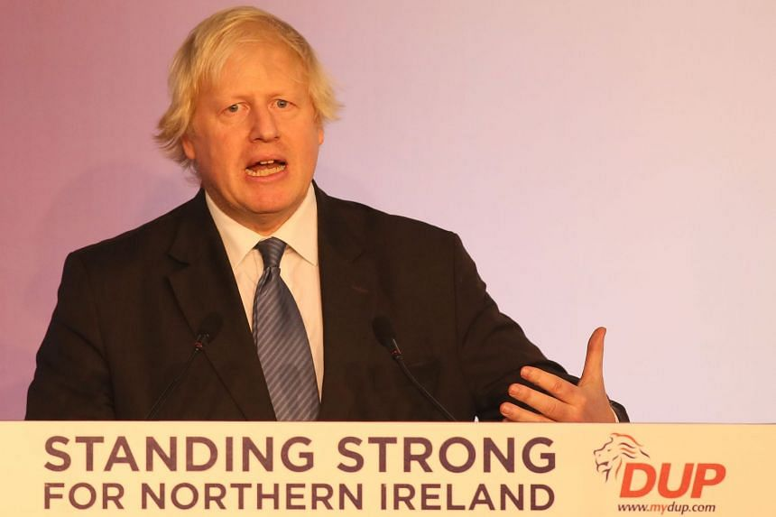 Former British foreign secretary Boris Johnson delivering his speech at the DUP conference in Belfast.