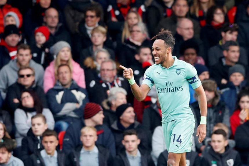 Arsenal's Pierre-Emerick Aubameyang celebrates scoring their second goal in the match between AFC Bournemouth and Arsenal in Vitality Stadium, Bournemouth, Britain, on Nov 25, 2018.