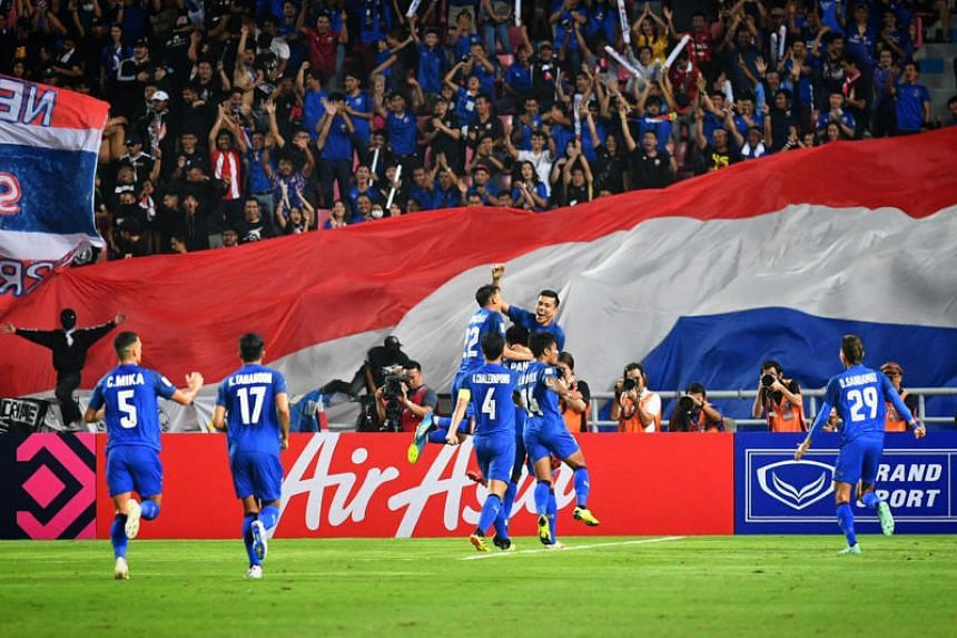 Thai players celebrating after an own goal gave them a 1-0 lead over Singapore during their AFF Suzuki Cup match on Nov 25, 2018.