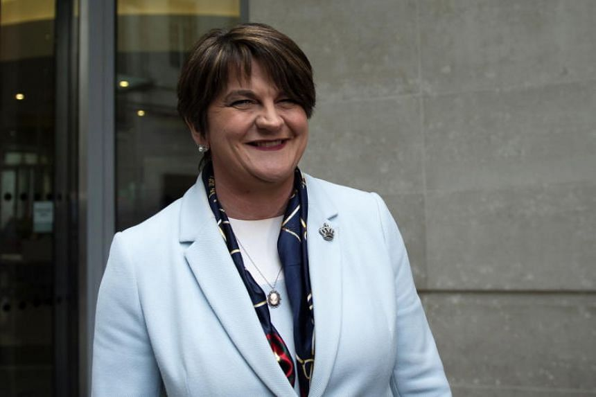 Democratic Unionist Party of Northern Ireland leader Arlene Foster addressing the media outside the BBC on Nov 25, 2018.
