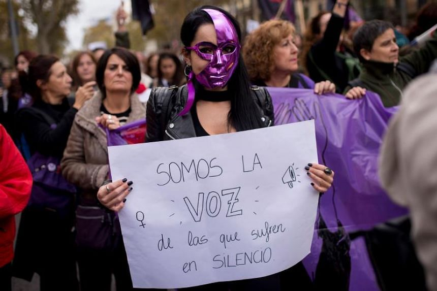 "The placard reads ""We are the voice of those who suffer in silence"" during a demonstration to mark the International Day for the Elimination of Violence against Women in Barcelona, on Nov 25, 2018."