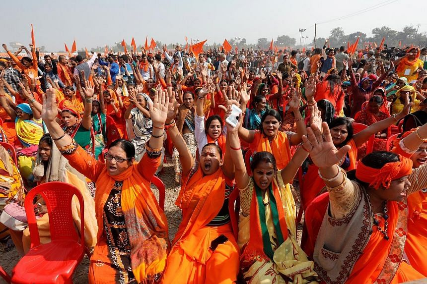 Tens of thousands protest in India for controversial Hindu temple
