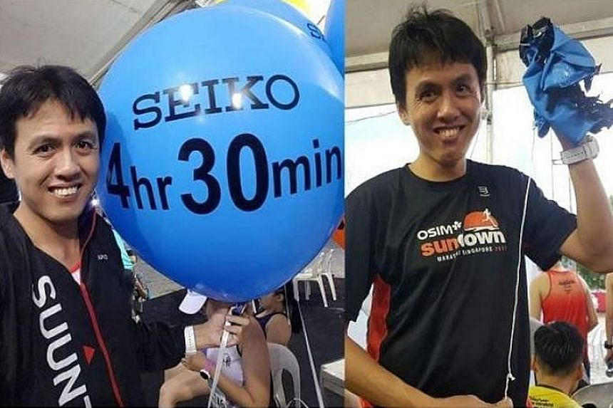 Penang Bridge International Marathon pacer Cheng Kean Wee with the balloon before the race and after it burst, after lightning struck it when he was about 3km from the finishing line.