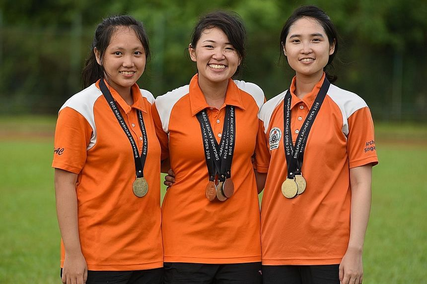 From left: The bemedalled Loh sisters Carissa, Contessa and Vanessa, are hoping to compete in next year's SEA Games in the Philippines.