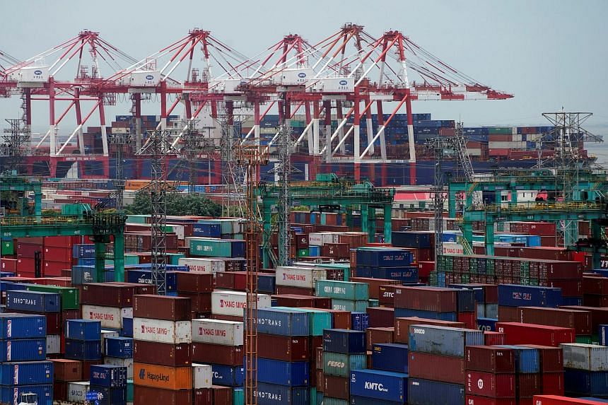 Shipping containers at a port in Shanghai, China, on July 10, 2018.