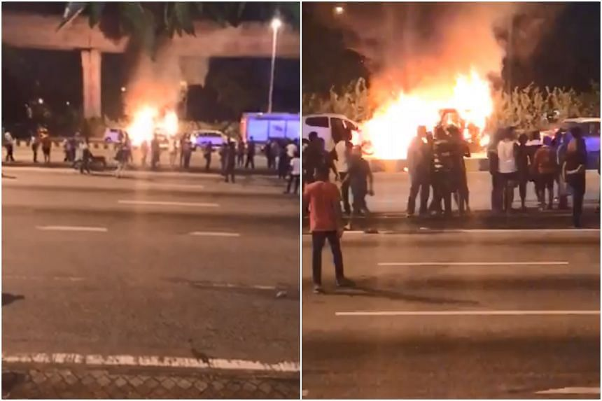 Videos of the incident have gone viral, showing the protest turning aggressive as people cheered after watching a vehicle being set on fire.