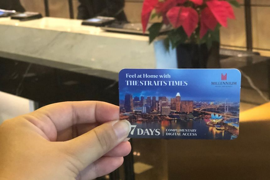 Guests of Millennium Hotels and Resorts' hotels in South-east Asia will be now be offered a one-week digital subscription to The Straits Times.