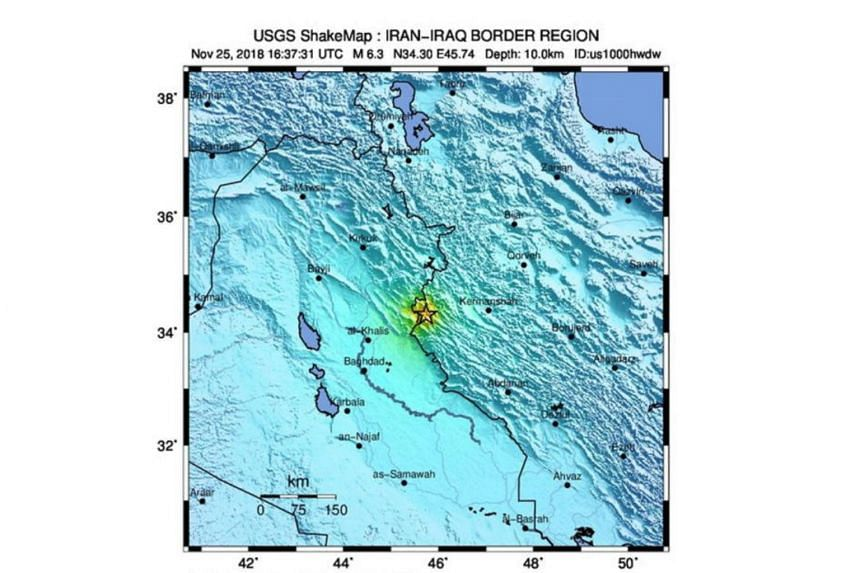 The location of the magnitude 6.3 earthquake that has hit 20km South SouthWest of Sarpol-e Zahab, Iran, on Nov 25, 2018.