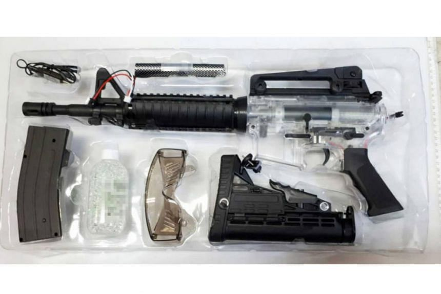 Twenty sets of airsoft guns and parts were seized by the Immigration and Checkpoints Authority on July 24, 2018. Airsoft guns are controlled items under the Arms and Explosives Act.