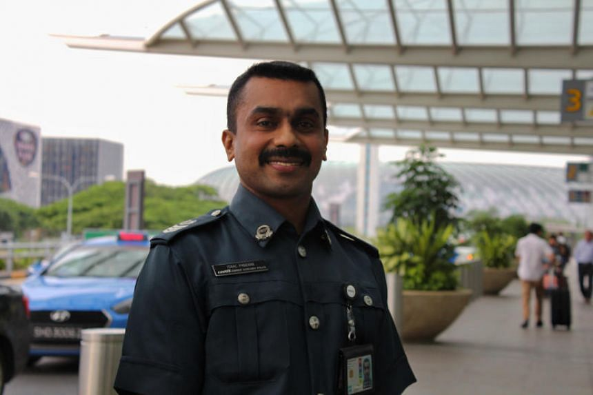 Certis Cisco aviation security officer Isaac Pandian is one of 3,209 people from 132 companies to receive an excellent service award this year from the Singapore Hotel Association.
