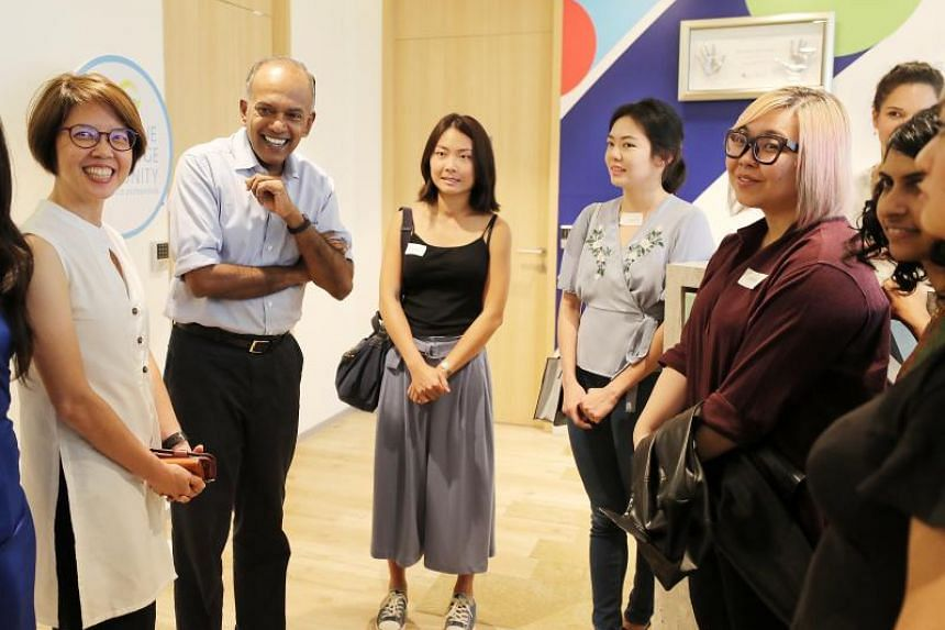 Home Affairs and Law Minister K. Shanmugam with Aware executive director Corinna Lim at an event by Aware to launch its two-year campaign to end sexual assault, Aim For Zero, on Nov 25, 2018.