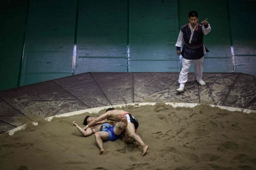 Ssireum wrestlers compete in the Korea Open Ssireum Festival in Andong, South Korea, on Nov 19, 2018.