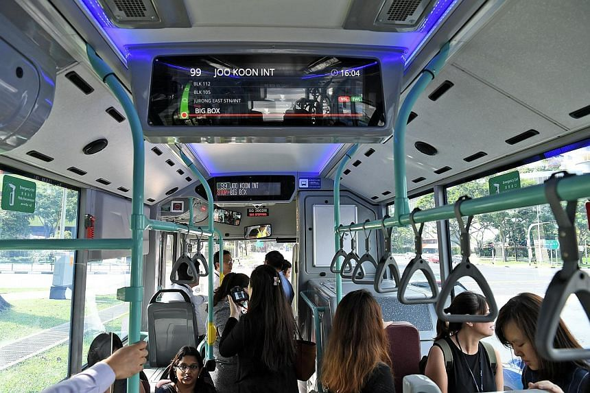 An enhanced information display system (left, above) features an LCD screen inside the bus displaying information such as the service number, final destination and upcoming stops, as well as nearby MRT and LRT stations and the lines they are on. The