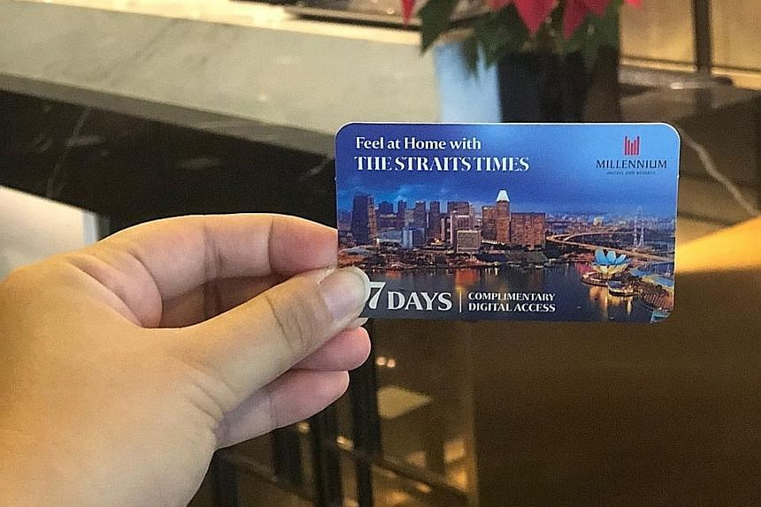 To read The Straits Times online, guests need to log on to a specially created Web page to open a complimentary account and key in a coupon code, which is given to them upon check-in. There are 10 participating hotels, of which five are in Singapore.
