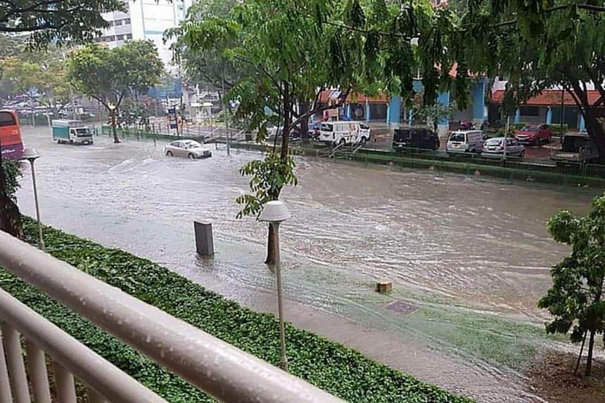 A flooded street in Geylang on Nov 11, 2018.
