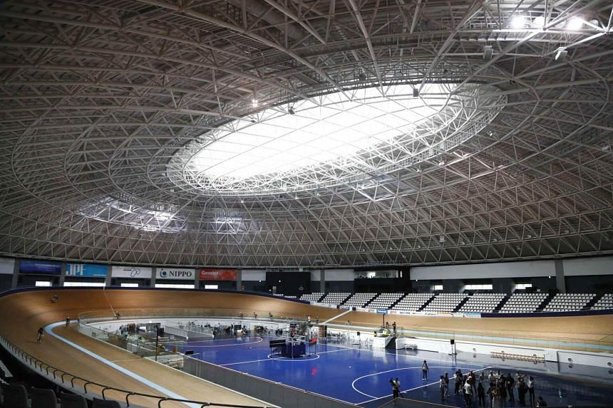 A general view of the Izu Velodrome for the Tokyo 2020 Olympic games in Izu, Shizuoka prefecture, central Japan, on Sept 6, 2018.