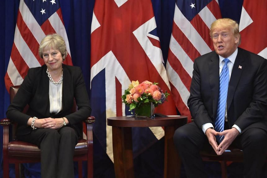 """British Prime Minister Theresa May meeting US President Donald Trump in New York on Sept 26, 2018. Mr Trump called her Brexit agreement """"a great deal for the EU""""."""