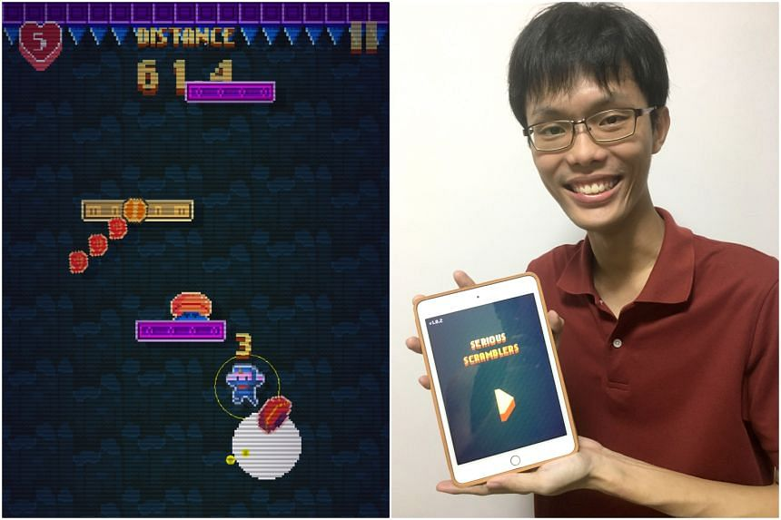 A screenshot of the Serious Scramblers game with its creator Chin Yong Kian, who thought of making the game while on reservist training.
