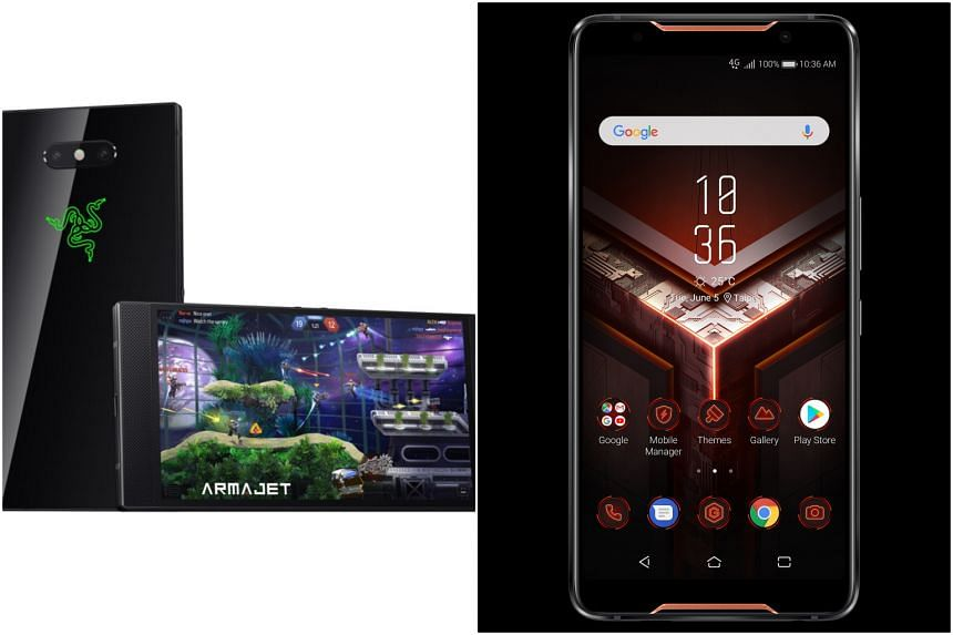 The Razer Phone 2 (left) and the Asus ROG Phone are new smartphones dedicated to gaming, as the shift of gaming moves from the desktop to mobile devices like smartphones.