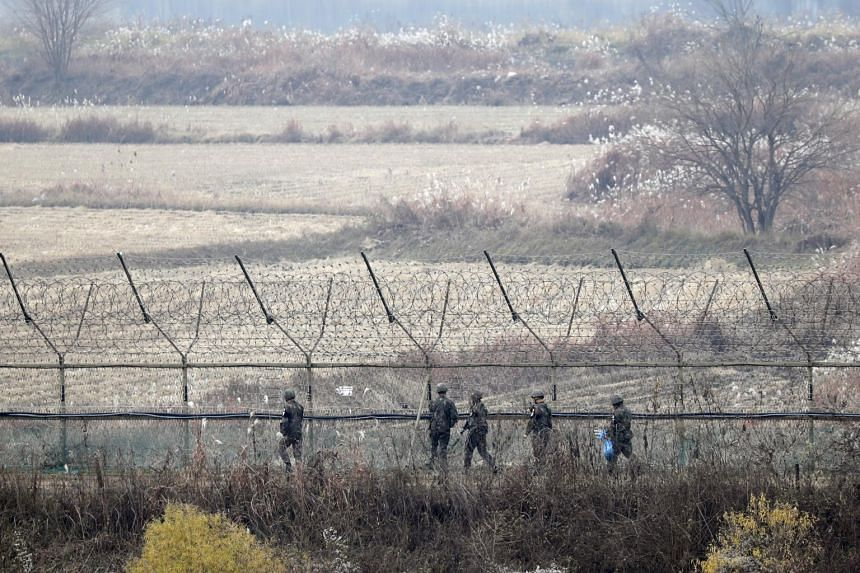 South Korean soldiers on patrol in Imjingak Park near the Demilitarised Zone in Paju, Gyeonggi-do province, on Nov 16, 2018. Seoul said the decision to buy two Israeli early warning radar systems was made at a defence acquisition committee.