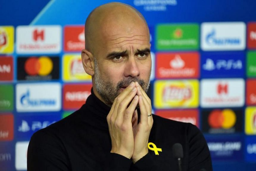 Manchester City's Spanish head coach Pep Guardiola at a press conference at the Groupama stadium in Decines-Charpieu, central-eastern France, on Nov 26, 2018.