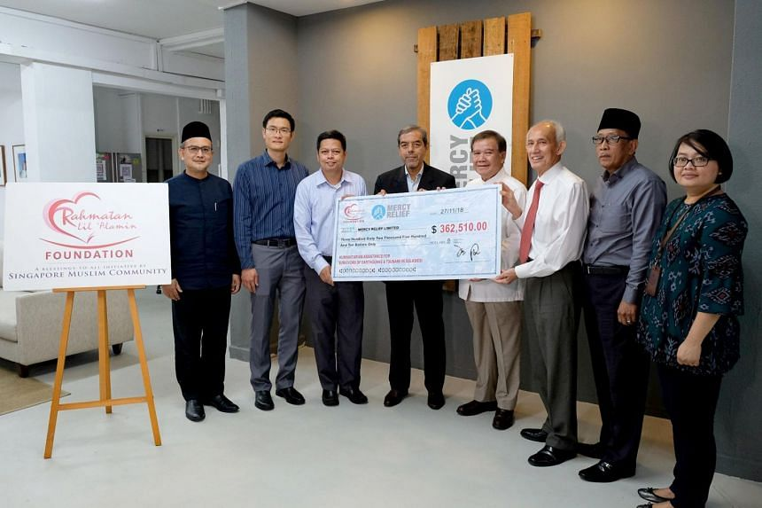 A cheque for $362,510 was presented on Nov 27, 2018, to independent disaster relief agency Mercy Relief Singapore, which plans to put the money towards recovery projects for survivors of the earthquake.
