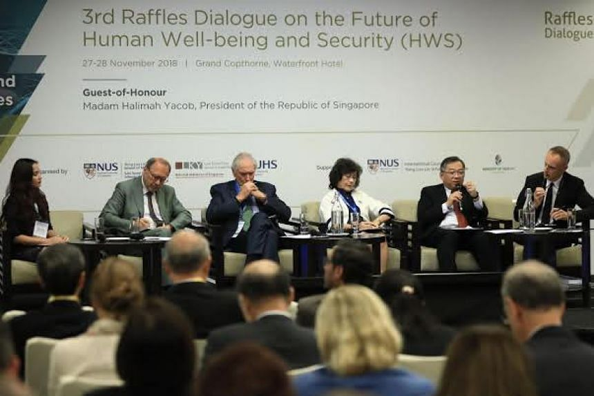 Global health experts at a panel discussion to open the 3rd Raffles Dialogue on the Future of Human Well-Being and Security at the Grand Copthorne Waterfront Hotel on Nov 27, 2018.