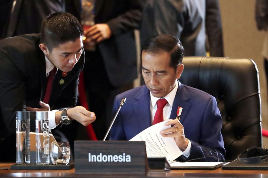 Indonesia's President Joko Widodo during the Asia-Pacific Economic Cooperation (Apec) leaders retreat at Apec Haus in Port Moresby, Papua New Guinea, on Nov 18, 2018.